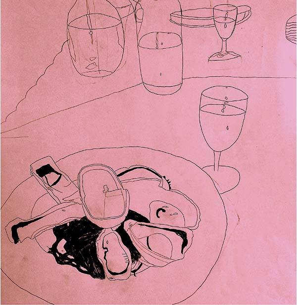 OYSTERS and wine -acrylic -jack haslam